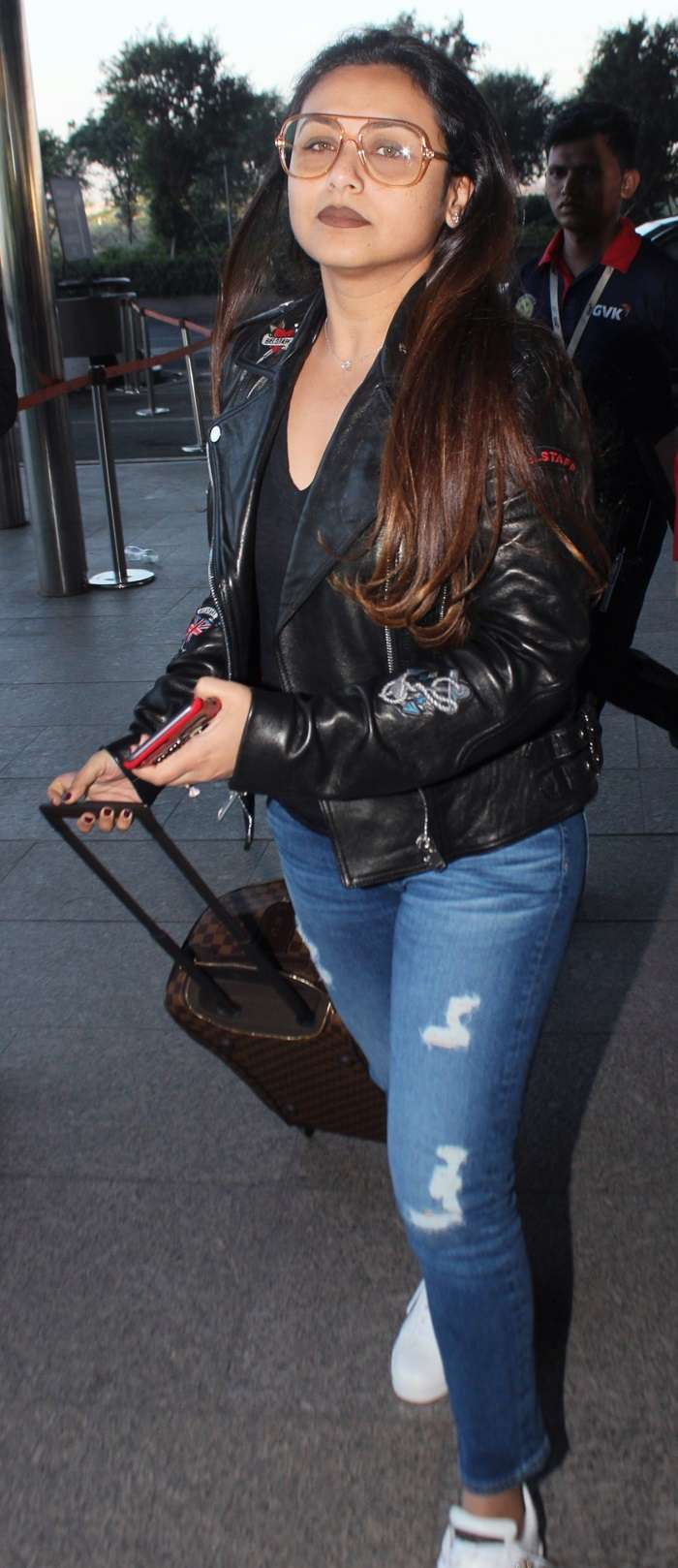 India Tv - Rani Mukerji in black biker jacket and blue denims