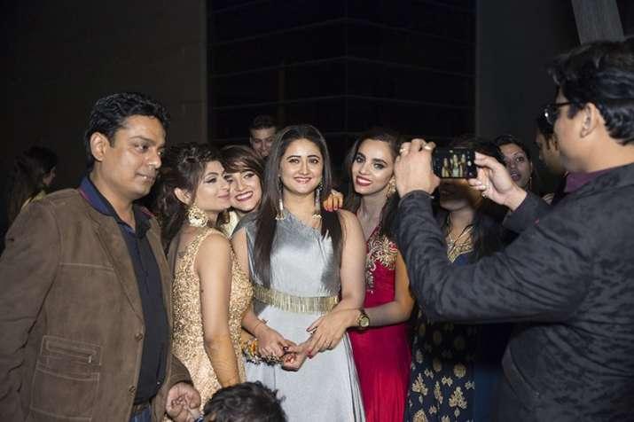India Tv - Rashmi Desai at Abhishek Bajaj and Akanksha Jindal's sangeet