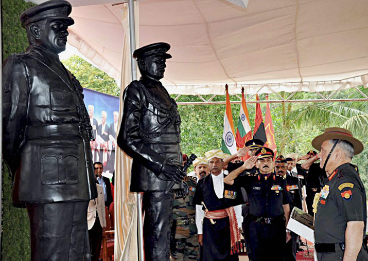 General Bipin Rawat paying tribute at the newly unveiled