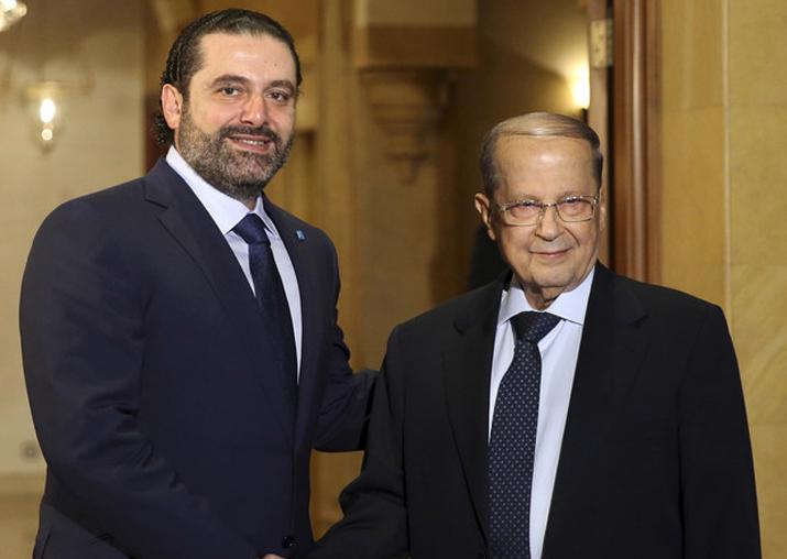 File pic - Lebanon PM Saad Hariri with President Michel Aoun