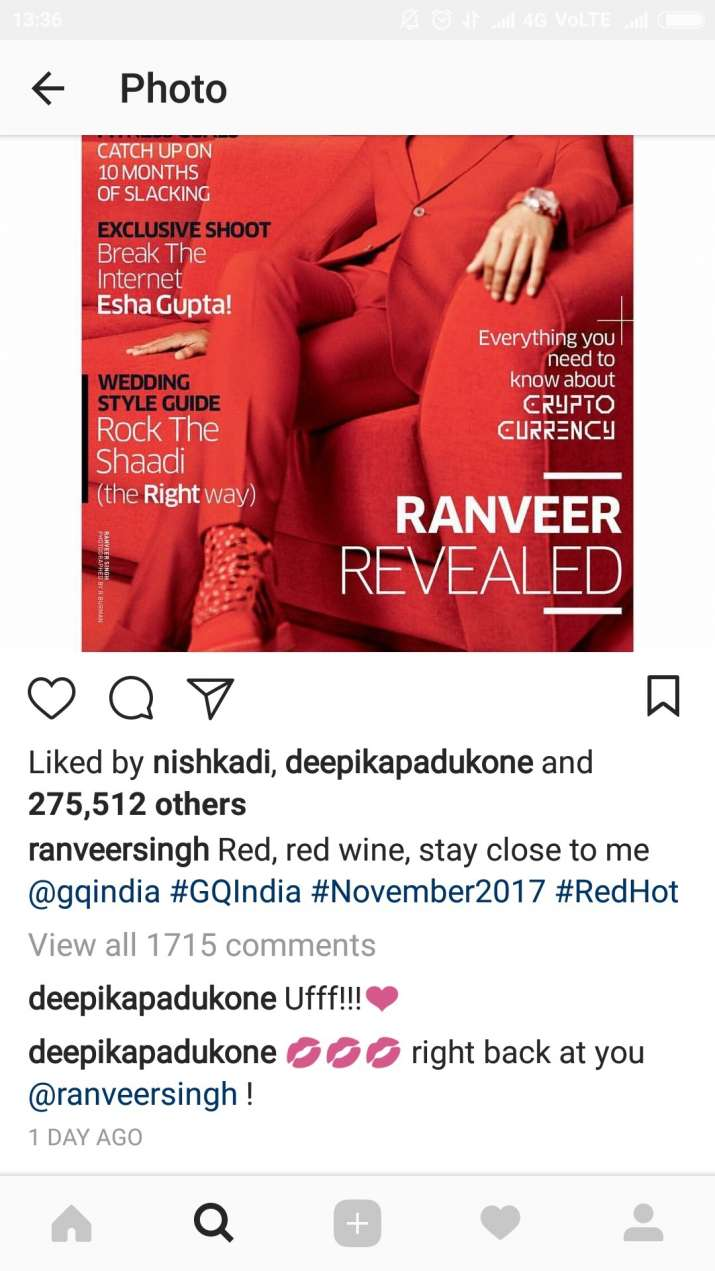 India Tv - Deepika Padukone dropped a romantic comment on Ranveer Singh's photo