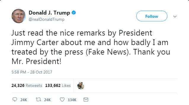 India Tv - Donald Trump uses the word 'fake news' in his Tweets