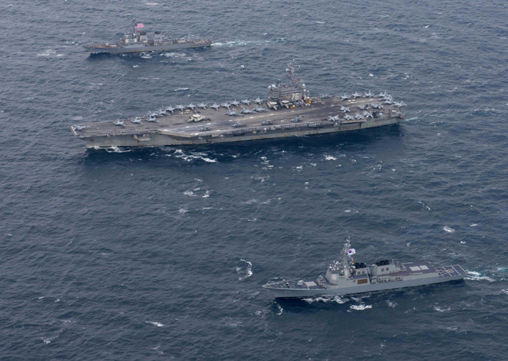 File pic - The USS Ronald Reagan aircraft carrier conducts