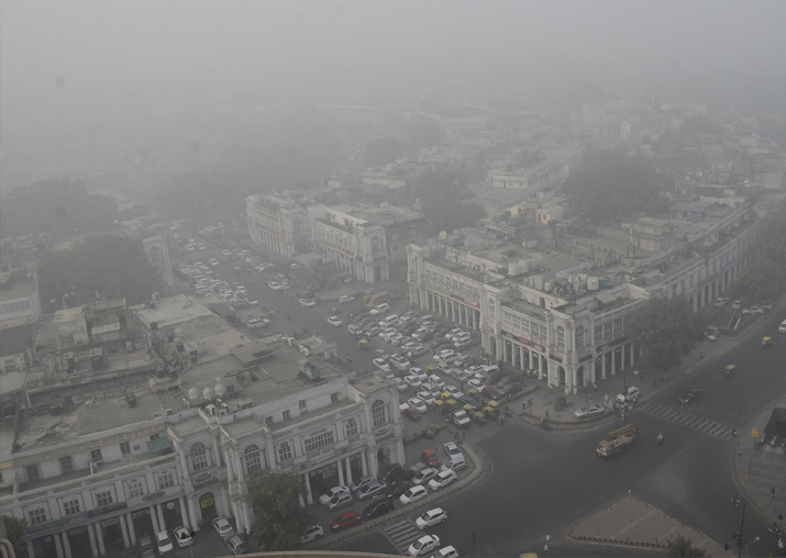 An arial view of the Central Delhi after thick layer of