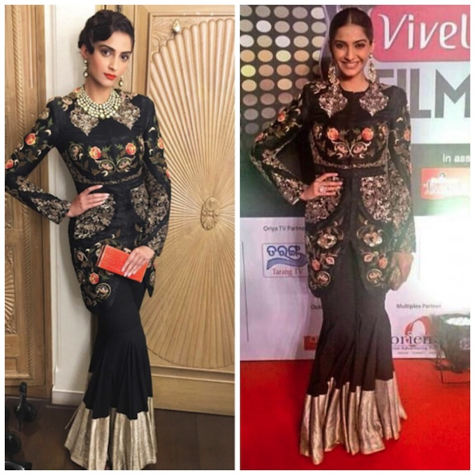 India Tv - Sonam Kapoor in Anamika Khanna jacket at Filmfare Awards and at another fashion event
