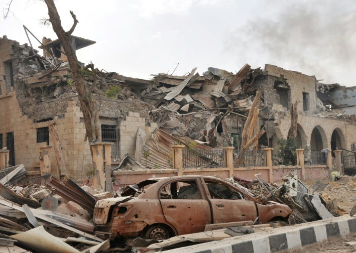 File pic - Damage in the eastern Syrian city of Deir Ezzor