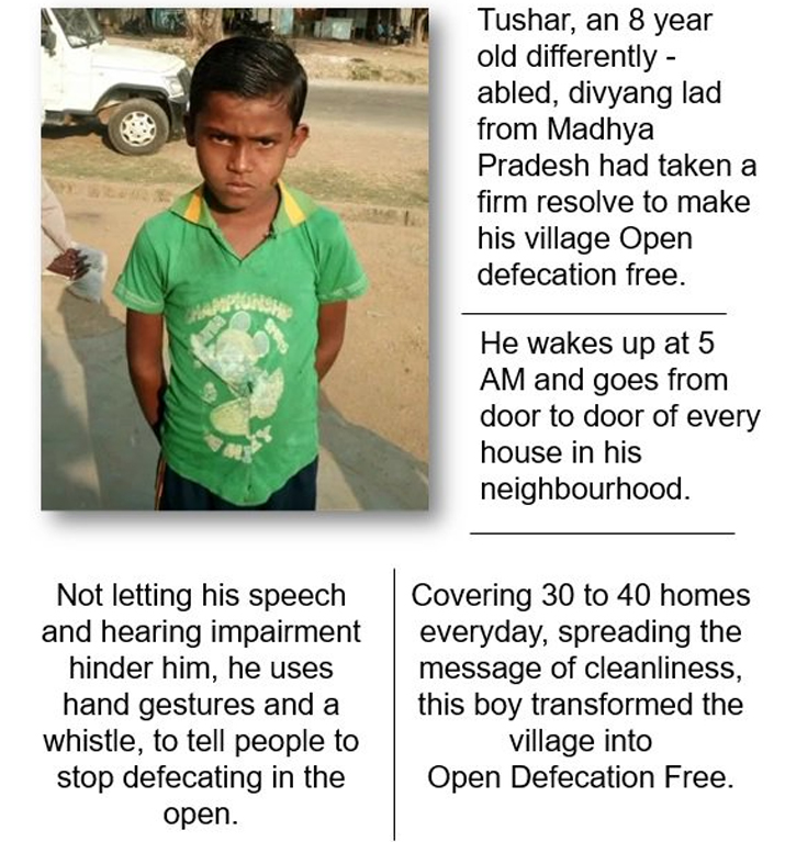 India Tv - PM Modi recounts the inspiring story of Tushar, an 8 year old divyang boy who spread the message of Swachh Bharat and transformed his village to an ODF village