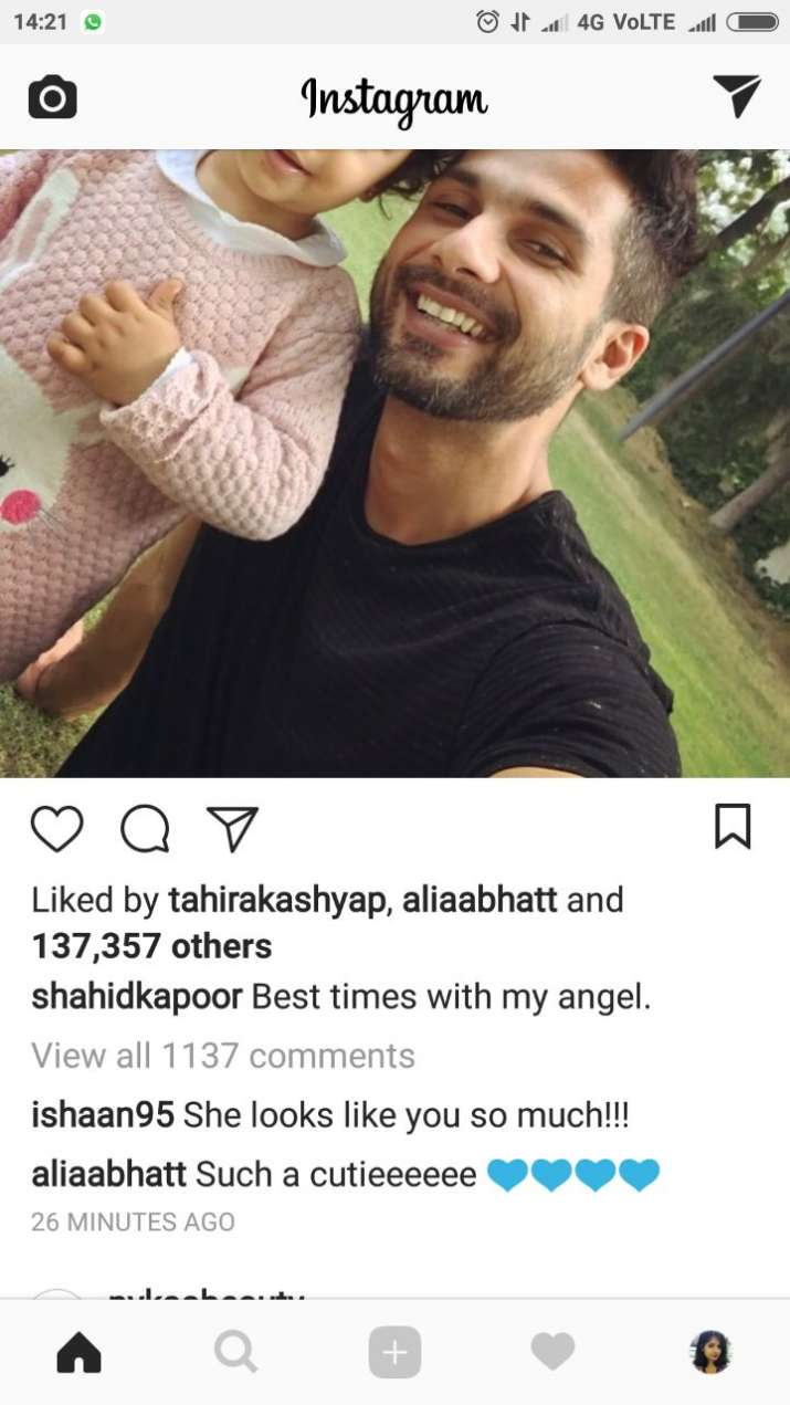 India Tv - Alia Bhatt and Ishaan Khattar commented on Shahid Kapoor's pictures