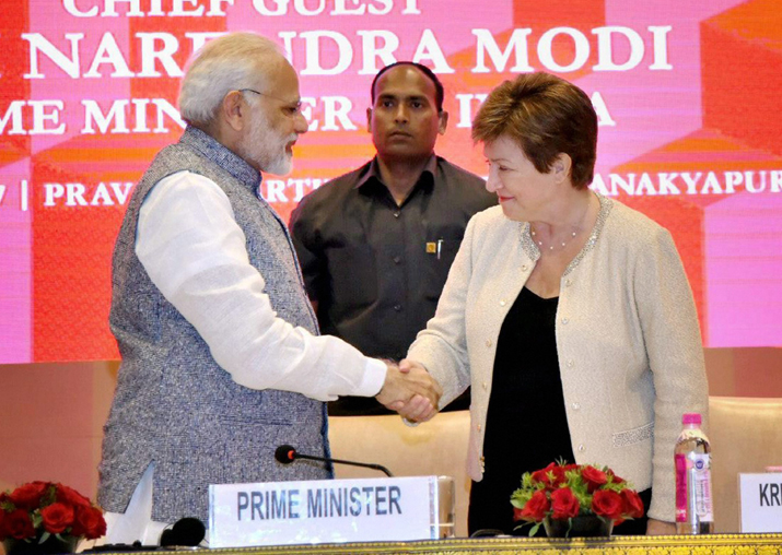 PM Modi shakes hands World Bank CEO Kristalina Georgieva at