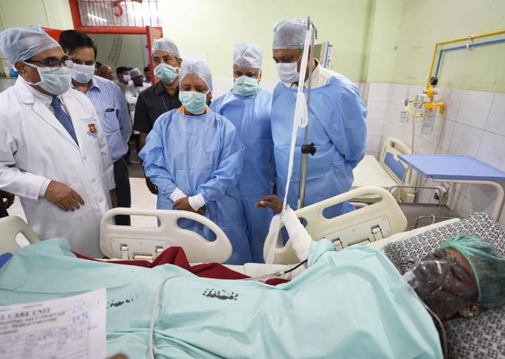 Yogi Adityanath meets victims of NTPC boiler blast at