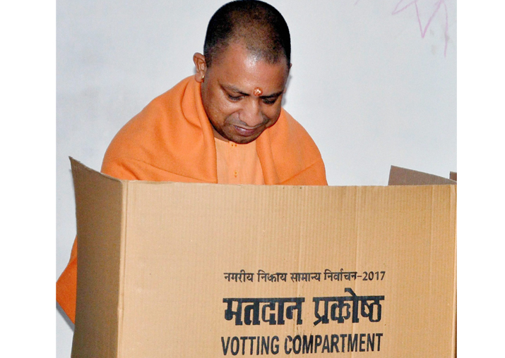 Yogi Adityanath casts his vote for local bodies elections