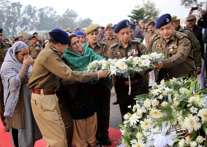 Wife of martyr Sub Inspector Imran Tak, who was killed in a