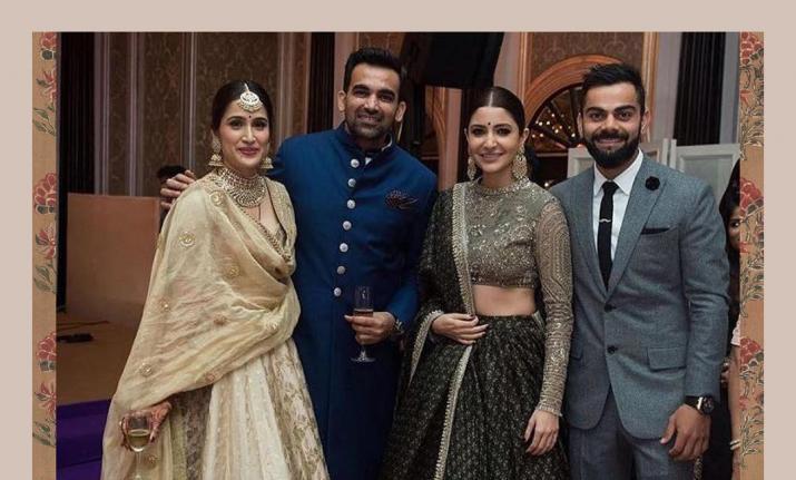 India Tv - Virat and Anushka in Zaheer Khan and Sagarika Ghatge's wedding reception.