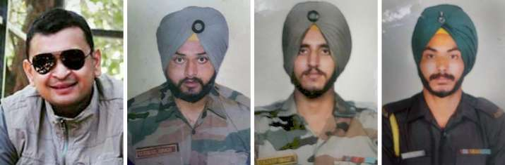 India Tv - Major Moharkar Prafulla Ambadas (32) of Maharashtra, Lance Naik Gurmail Singh (34) and Lance Naik Kuldeep Singh (30) of Punjab, and Sepoy Pargat Singh (30) of Haryana