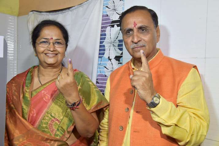 Gujarat Chief Minister Vijay Rupani with his wife.