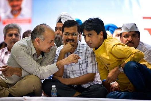 File photo of AAP co-founder Kumar Vishwas with Delhi CM