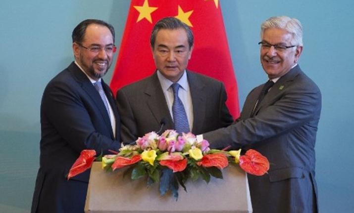 Afghanistan's FM Salahuddin Rabbani, China's FM Wang Yi and
