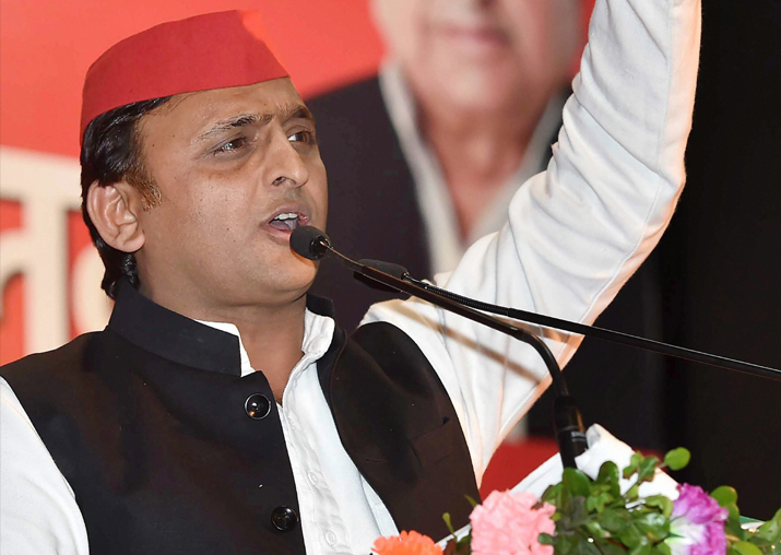 Akhilesh Yadav while addressing a gathering during a