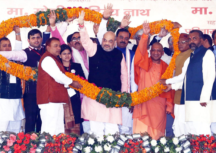 Amit Shah and Yogi Adityanath at a foundation stone laying