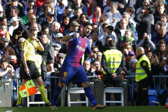 India Tv - Luis Suarez celebrates his goal.