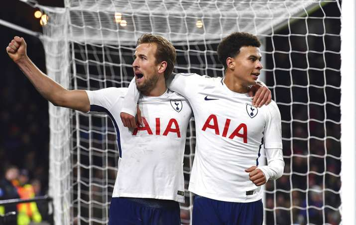 India Tv - Harry Kane celebrates with Deli Alli