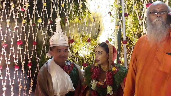 India Tv - Sunil Chhetri with his newly wedded wife. Credits- Twitter