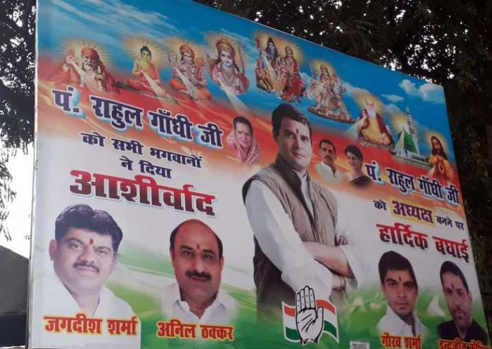 posters hailing pandit rahul gandhi appear outside congress