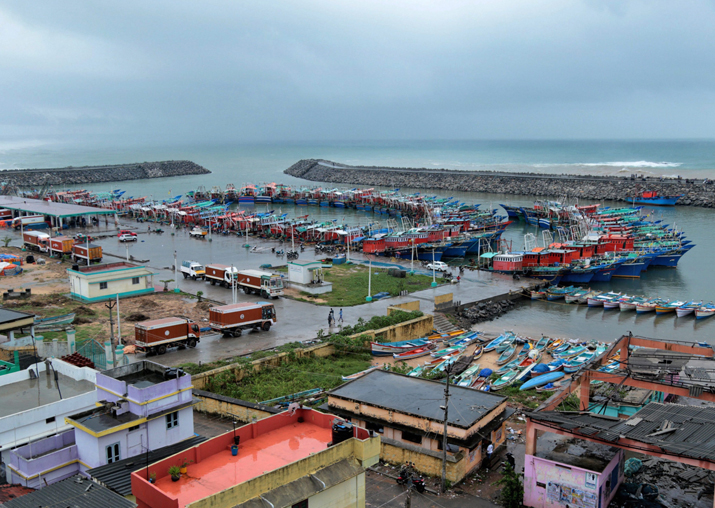 India Tv - A view of Cyclone Ockhi at a yard in Kanyakumari in which 1,200 people were affected in Kanyakumari and Tirunelveli districts on Friday
