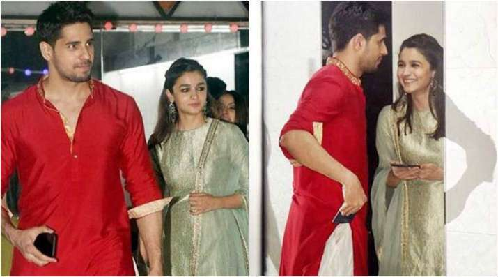 India Tv - Sidharth Malhotra and Alia Bhatt at a Diwali bash