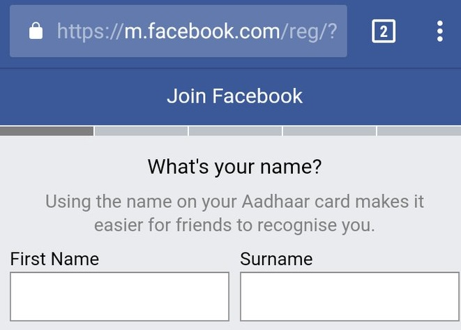 Facebook asks new users to give name 'as per Aadhaar'