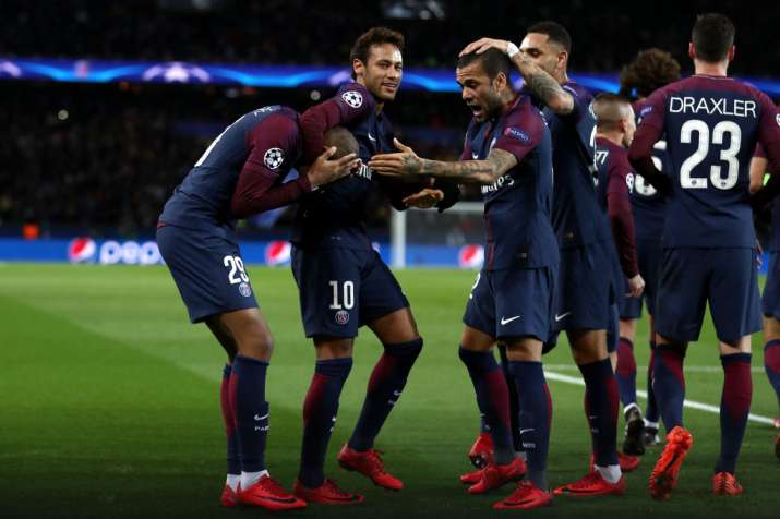 India Tv - PSG players celebrate.