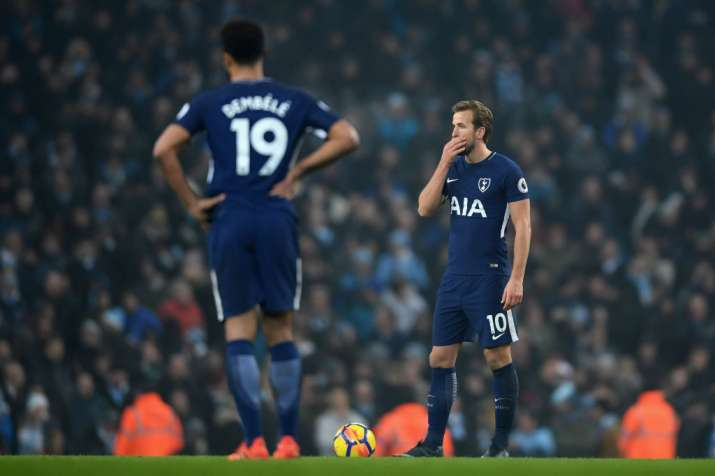 India Tv - Spur's Harry Kane takes a set piece during the City match.