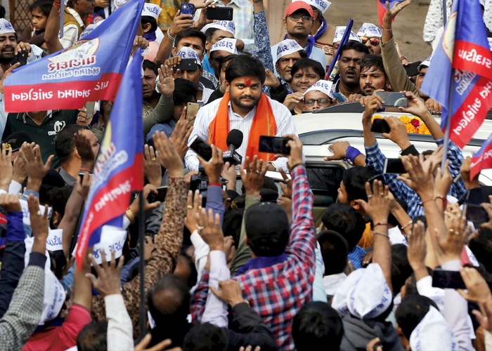 Patidar community leader Hardik Patel during a road show in