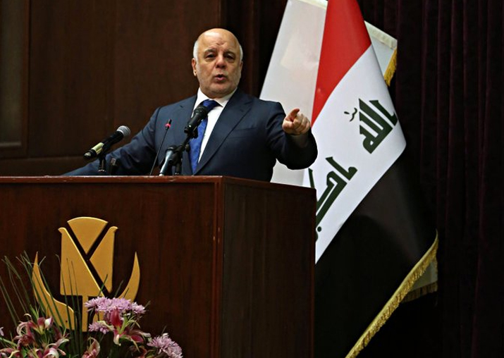 Iraq PM Haider al-Abadi gestures said that war against