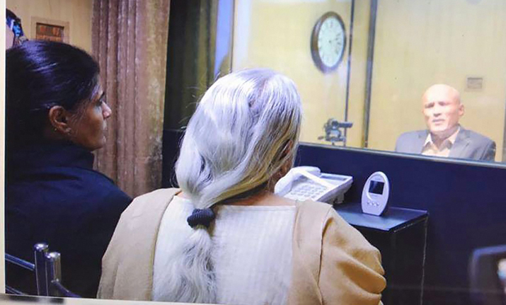 Kulbhushan Jadhav's wife and mother meet him while seated