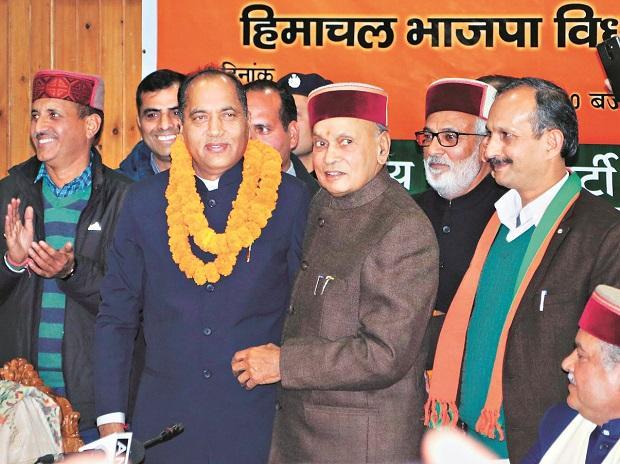 Himachal CM Jairam Thakur with PK Dhumal