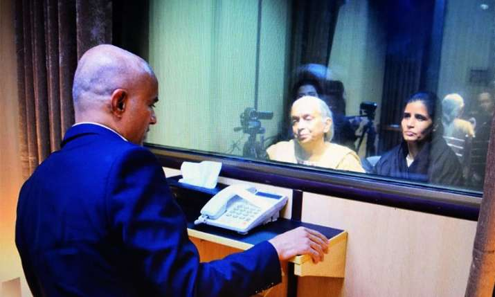India Tv - Wife & mother of Kulbhushan Jadhav meet him at Pakistan Foreign Affairs Ministry in Islamabad: Pak media