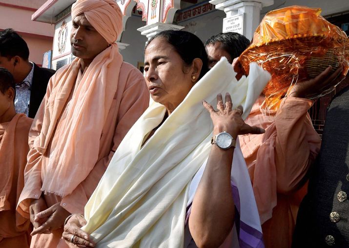 Mamata Banerjee comes out of Bharat Sevashram Sangha Temple