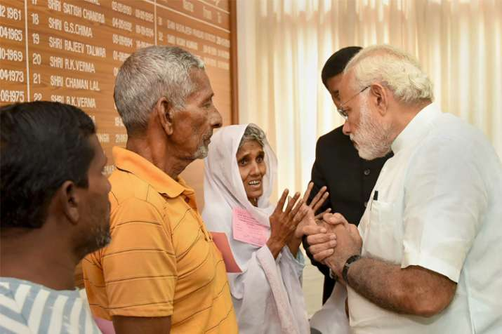 Prime Minister Narendra Modi meets the victims of Cyclone