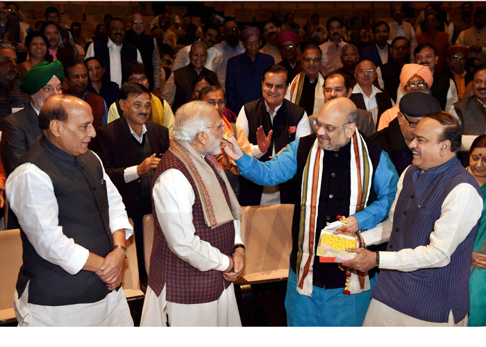 Rajnath Singh, PM Modi, Amit Shah and Ananth Kumar at the
