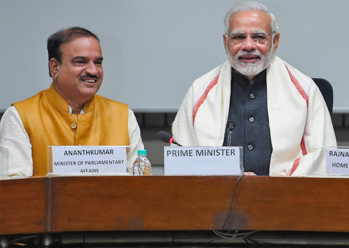 PM Narendra Modi with Parliamentary Affairs Minister Ananth