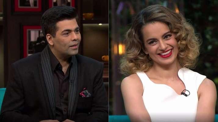 India Tv - Left- Karan Johar, Right- Kangana Ranaut