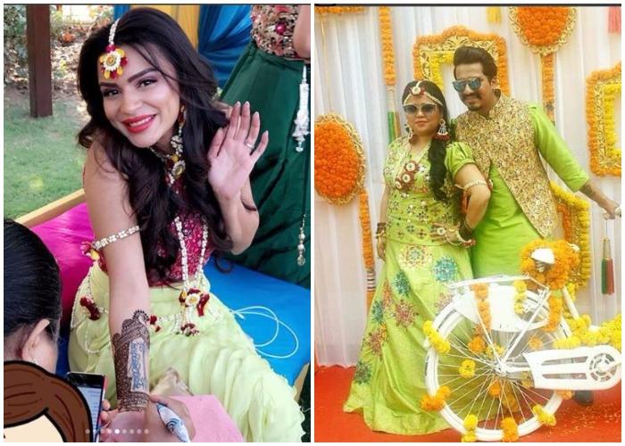 Mehendi Ceremony Look : Inside pics: brides to be aashka goradia and bharti singh looking