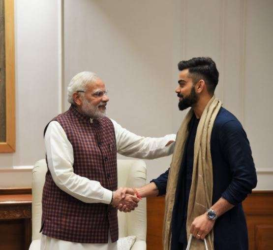 India Tv - Virat Kohli greets PM Modi