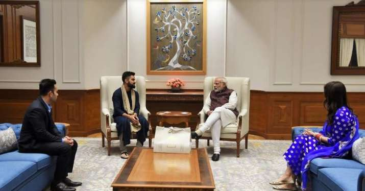 India Tv - PM Modi has a chat with Kohli.