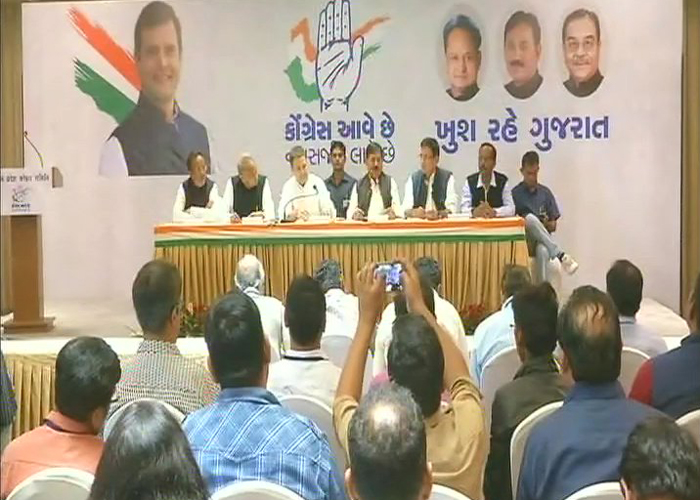 Congress president-elect Rahul Gandhi is addressing a press