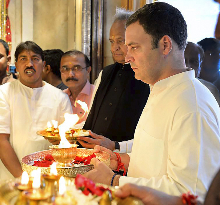 India Tv - Congress president-designate Rahul Gandhi offering prayers at Shri Jagannathji Temple in Ahmedabad.