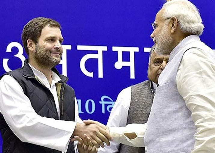 File pic - PM Modi congratulates Rahul Gandhi on election
