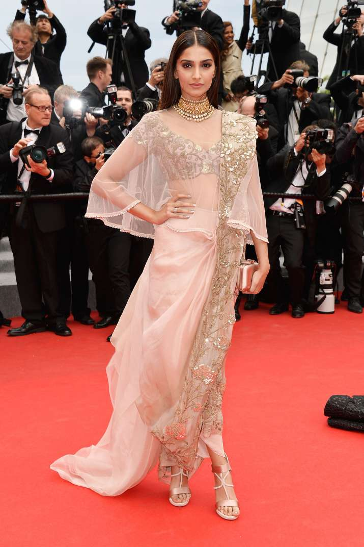 India Tv - Sonam Kapoor looks gorgeous in a saree gown