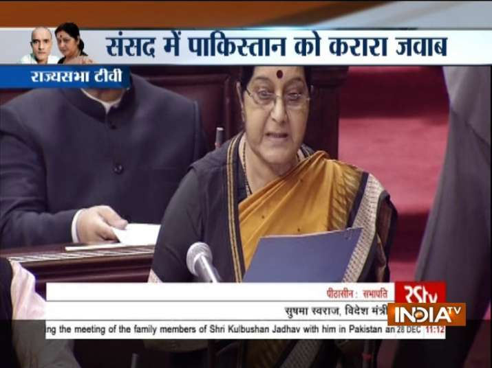 Sushma Swaraj is addressing Jadhav issue in Rajya Sabha.